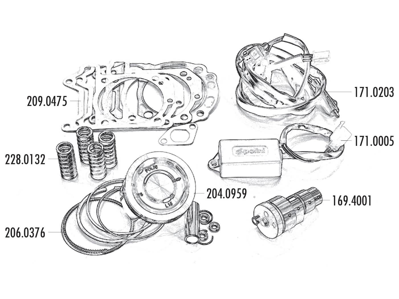 power kit Polini 75mm for Vespa GTS, GTV, Piaggio MP3 ... on