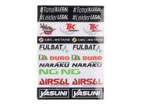 Racing Planet Race Team Sticker set 29x34cm 22-part transparent for Race Teams, Scooter Store, Repair Shops, Racing Planet Dealers includes Naraku, Airsal, NG Brakes, Turbo Kit Exhausts, Duro Tires, Yasuni