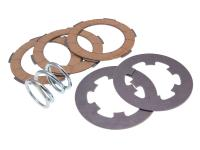clutch disc set, cork and steel clutch friction plates incl. spring Ferodo for Vespa 50, 90, 125 Primavera, ET3