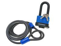 Universal Scooter Lock Steel Security Cable Looped Silverline incl. Padlock 1.8m x 8mm Universal Scooter Parts Applications by Silverline