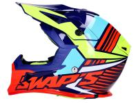 helmet Motocross SWAPS S818 blue / fluo yellow / red - different sizes