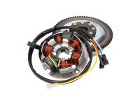 AM6 Genuine Parts Minarelli Alternator Stator and AM6 Rotor OEM for Minarelli AM E-start in Aprilia, Malaguti, Rieju, Yamaha TZR Motorcycles