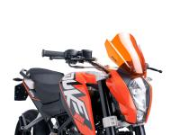 Shop Puig Windscreens & Puig Accessories - Windshield Puig New Generation in Orange for KTM Duke 125, 200, 390 11-16