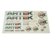 ARTEK Scooter Racing Parts Complete Professional Sticker Set ARTEK Replica in Grey-Red 44x23cm