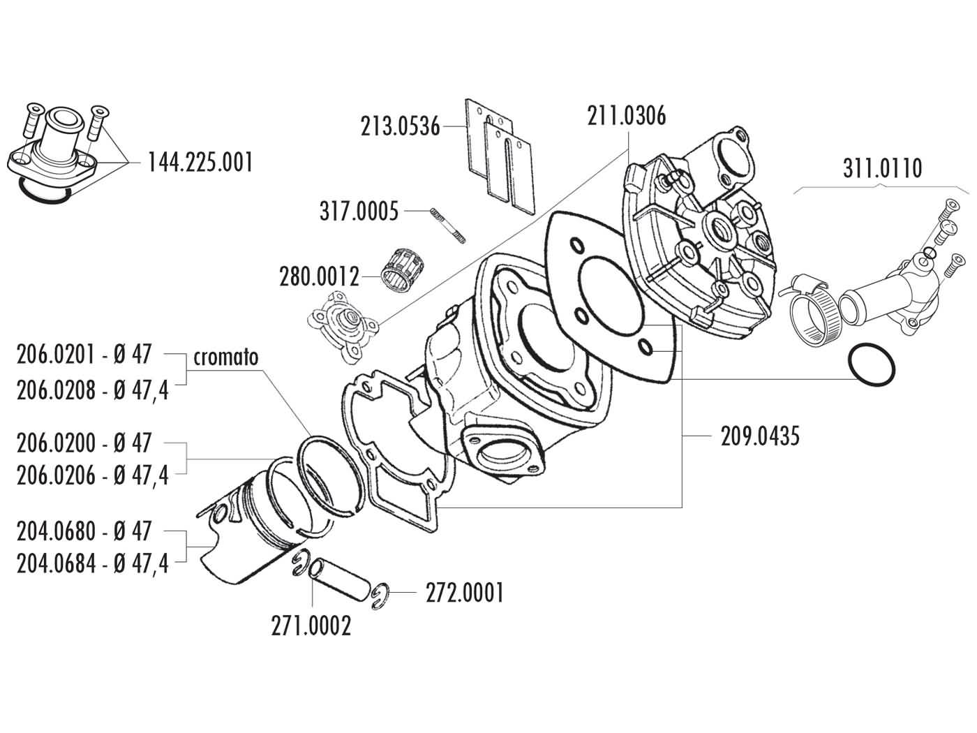 Cylinder Kit Polini Cast Iron Racing 70cc 47mm For Piaggio Lc Engine Diagram