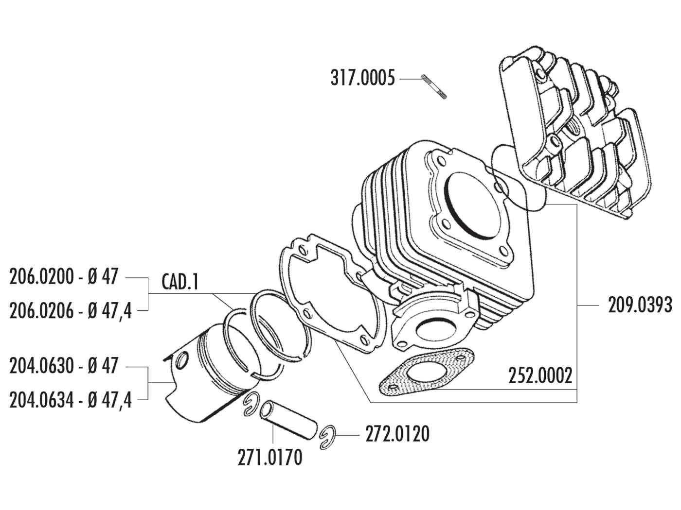 Cylinder Kit Polini Cast Iron Sport 70cc For Morini Ac Scooter Engine Diagram