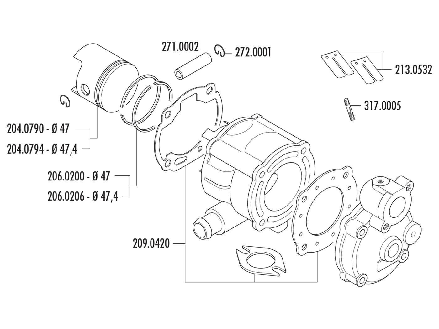Cylinder Kit Polini Cast Iron Sport 70cc For Aprilia Suzuki Lc Engine Diagram