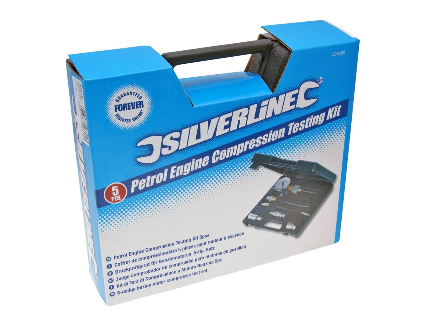 5-Piece Silverline 598559 Petrol Engine Compression Testing Kit