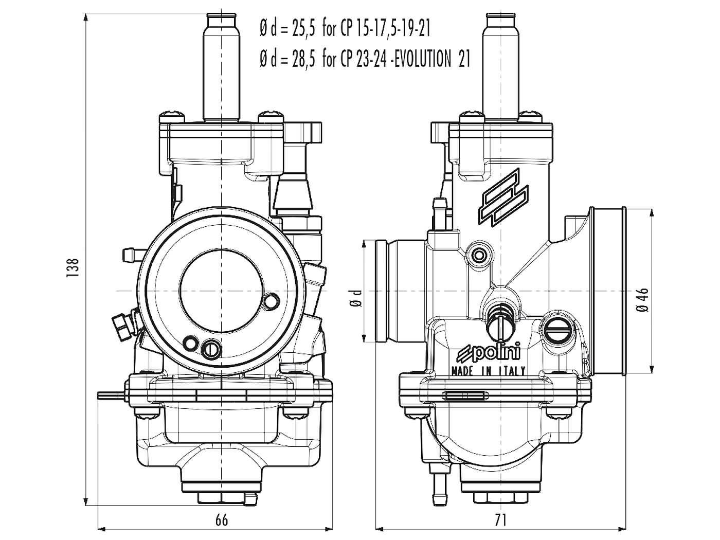 carburetor Polini CP D 23 23mm knob choke | Scooter Parts